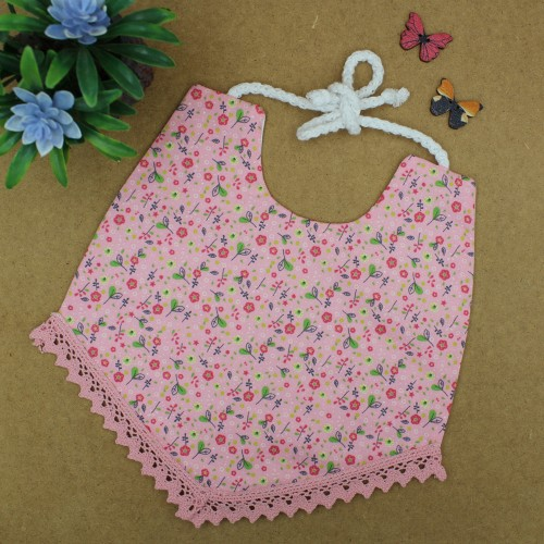 Handmade Pink Floral Bib With Lace