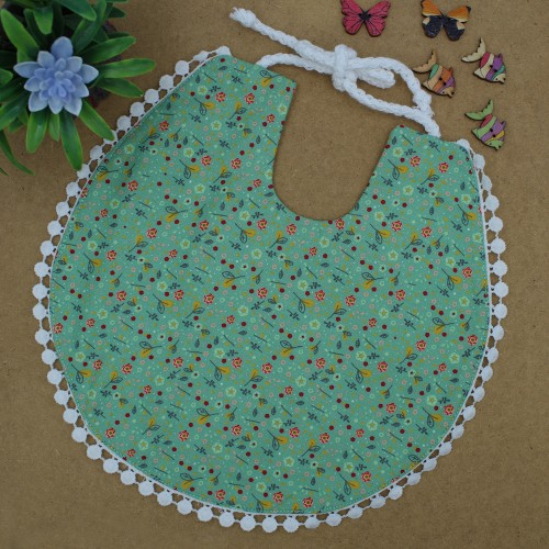 Handmade Green Floral Bib With Lace