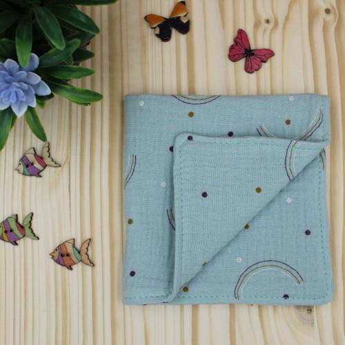 Handmade Baby Cuddle Blanket Made Of Cotton Muslin Rainbows Dusty 25x25cm