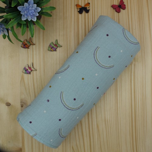 Handmade Baby Cuddle Blanket Made of Cotton Muslin Rainbows Dusty 67x67cm