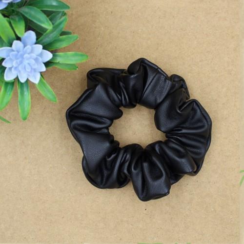 Scrunchie Leatherette Hair Rubber - Black