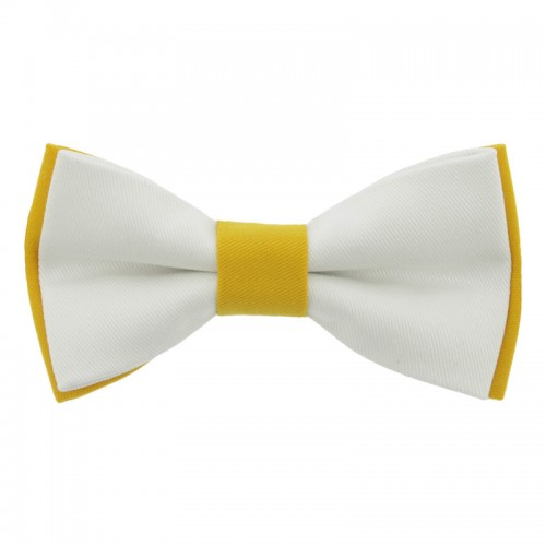White Yellow Men's Pre-Tied Bow Tie