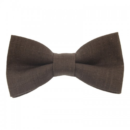 Brown Linen Baby Pre-Tied Bow Tie 0-12 Months Old