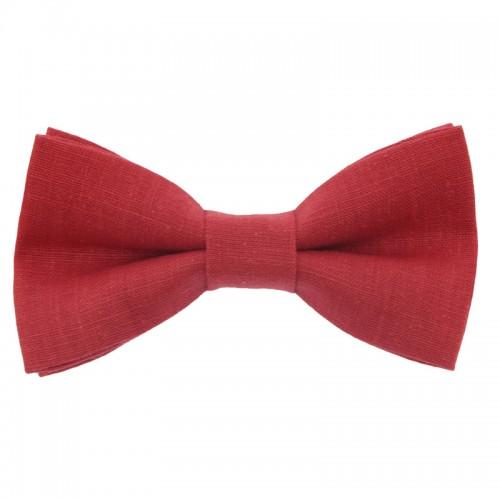 Red Linen Men's Pre-Tied Bow Tie