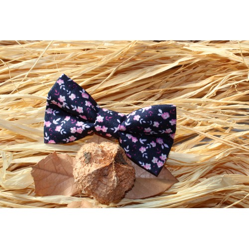 Blue Navy With Pink And White Flowers Kid Pre-Tied Bow Tie For 0-36 Months Old