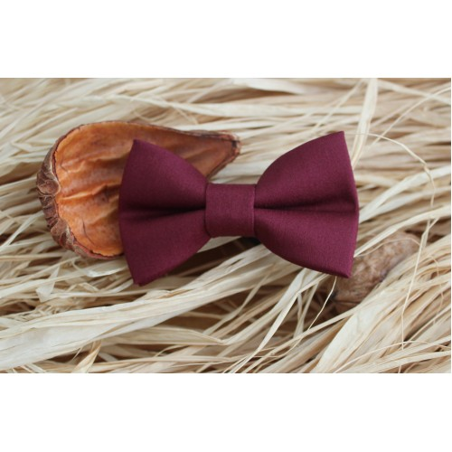 Wine Red Baby Pre-Tied Bow Tie 0-12 Months Old