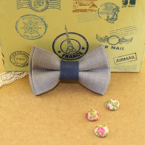 Gray - Blue Raf Linen Kid Pre-Tied Bow Tie For 0-36 Months Old