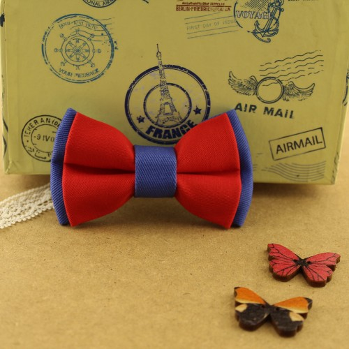 Red Blue Baby Pre-Tied Bow Tie 0-36 Months Old