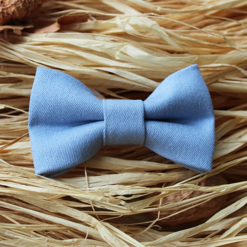 Light Blue Jean Kid Pre-Tied Bow Tie For 0-36 Months Old