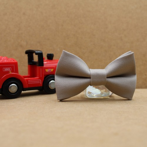 Gray Beige Baby Pre-Tied Bow Tie 0-36 Months Old