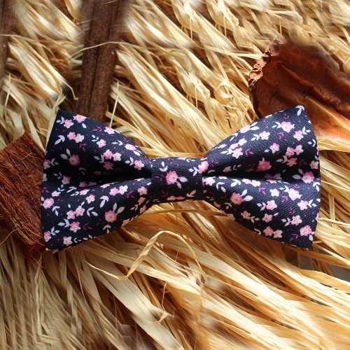 Blue Navy With Pink And White Flowers Men Pre-Tied Bow Tie
