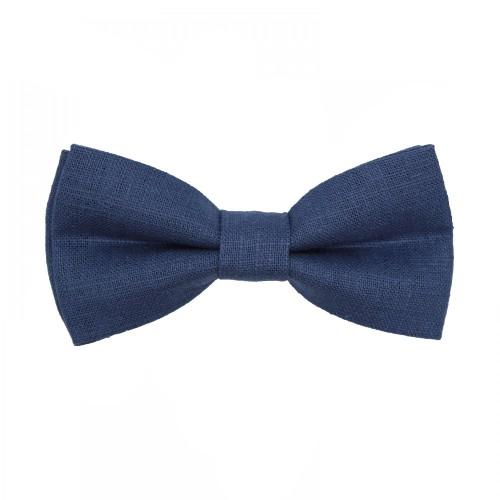 Blue Linen Men's Pre-Tied Bow Tie