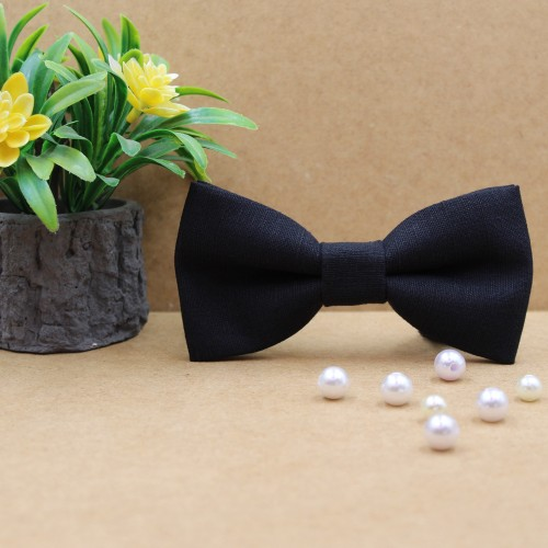 Black Handmade Linen Men's Pre-Tied Bow Tie