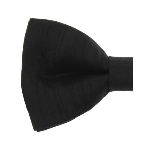 Black Silk Men's Pre-Tied Bow Tie