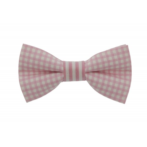 White & Pink Kid Pre-Tied Bow Tie For 0-36 Months Old