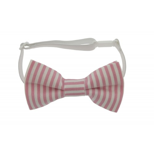 White & Pink Kid Pre-Tied Bow Tie For 0-12 Months Old
