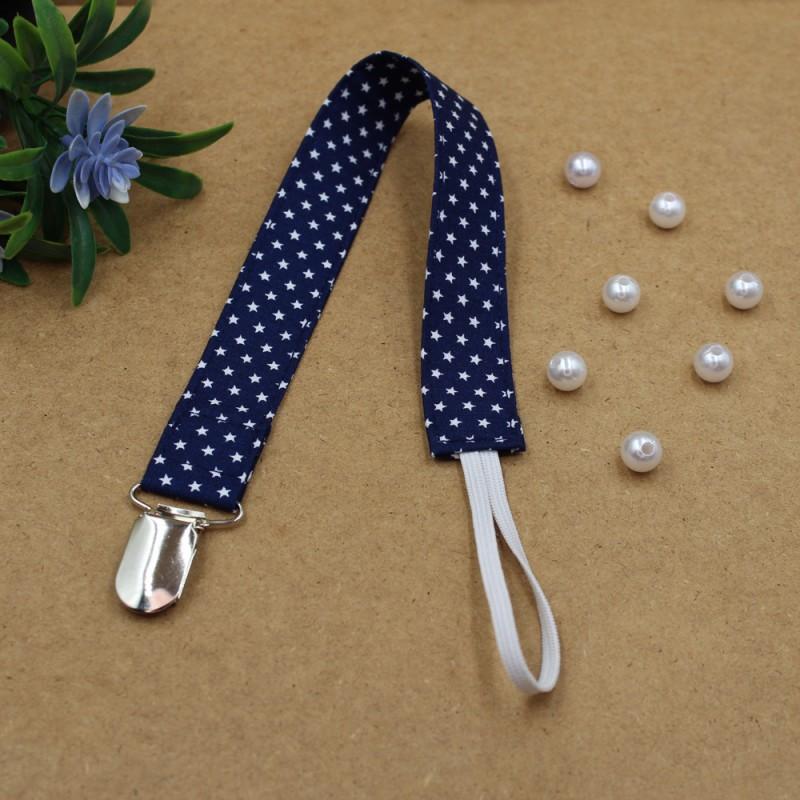 Handmade Clip Pacifier Blue Navy Stars