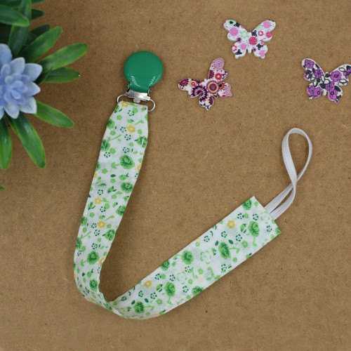 Handmade Pacifier Clip Green Floral With Green Clips