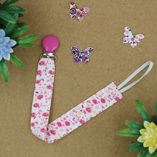 Handmade Pacifier Clip Rose Floral With Fuchsia Clips