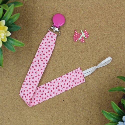 Handmade Pacifier Clip Pink Stars With Fuchsia Clip
