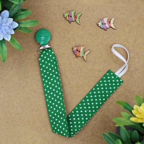 Handmade Pacifier Clip Green Polka Dots With Green Clip