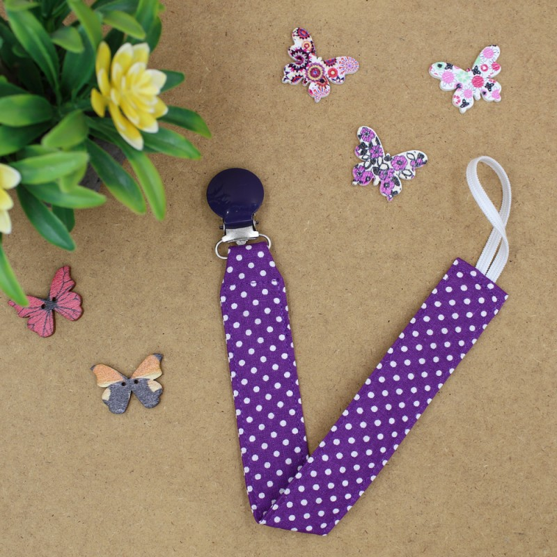 Handmade Pacifier Clips Purple Polka Dots With Purple Clips