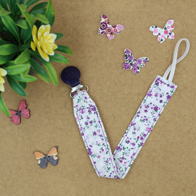 Handmade Pacific Clip Purple Floral With Purple Clip
