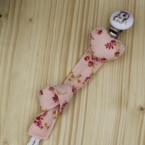 Handmade Pacifier Clip Rose Floral Muslin With Small Pony Clip