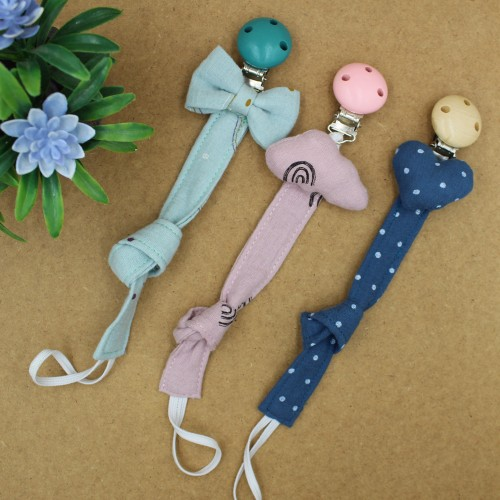 Handmade Pacifier Clip Jeans Little Dots With Heart