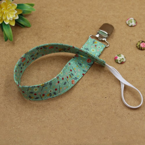 Handmade Clip Pacifier Green Floral