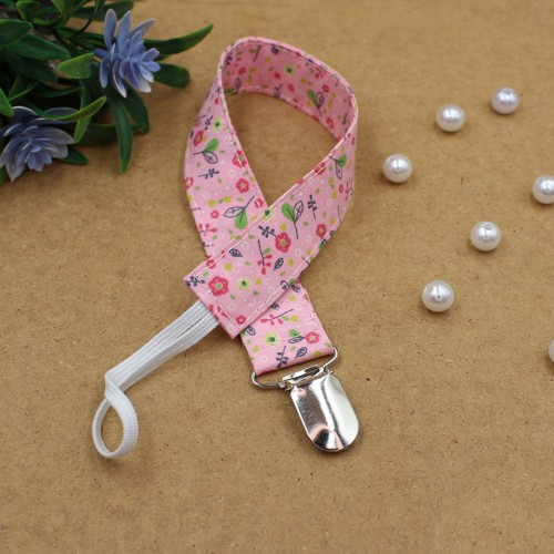Handmade Clip Pacifier Pink Floral