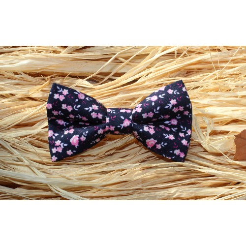 Blue Navy With Pink And White Flowers Kid Pre-Tied Bow Tie For 2-6 Years Old