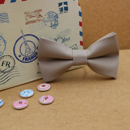 Gray Beige Kid Pre-Tied Bow Tie For 2-6 Years Old