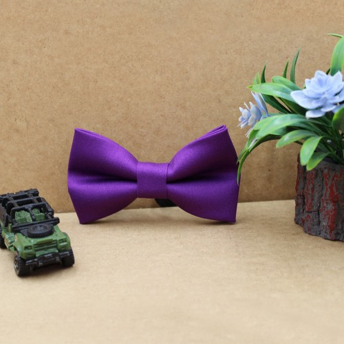 Purple Kid Pre-Tied Bow Tie For 2-6 Years Old