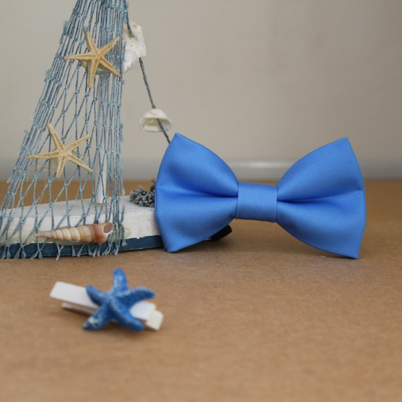 Blue Kid Pre-Tied Bow Tie For 7-14Years Old