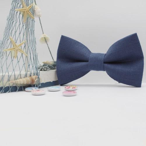 Blue Handmade Linen Kid Pre-Tied Bow Tie 7-14 Years Old