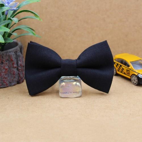 Black Handmade Linen Children's Bow Tie