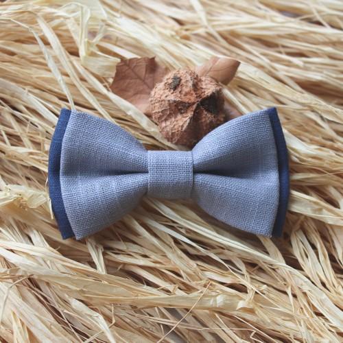 Grey - Blue Raf Linen Boys Bow Tie 7-14 Years Old