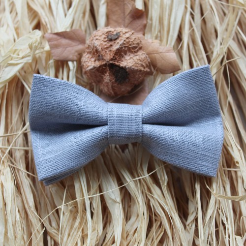 Grey Linen Boys Bow Tie 7-14 Years Old