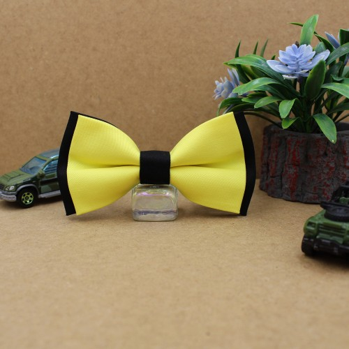 Black Yellow Kid Pre-Tied Bow Tie For 7-14 Years Old